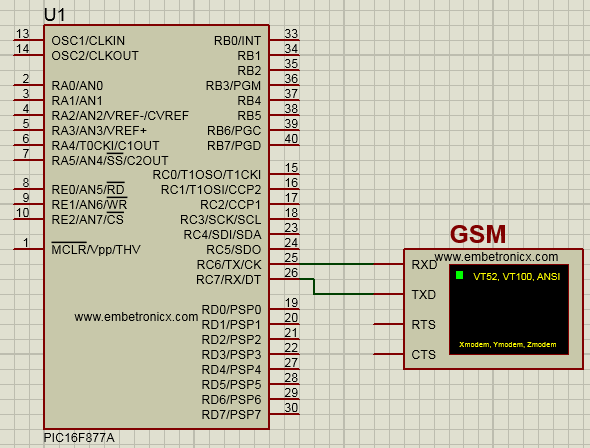 gsm interfacing with pic16f877a